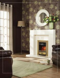 Dining by a roaring glow from the hearth is a sure-fire way to set the mood for a romantic night. Valor Gas Fires, My Living Room, Living Spaces, Fire Surround, Gas Fireplace, Fireplaces, Living Magazine, Hearth, Concept