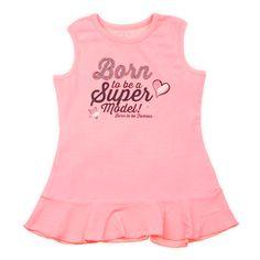 Babykleding jurkje | Born To be Famous | soft coral | online verkrijgbaar op www.kienk.nl