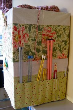 Crate cover with pockets tutorial #sewing #tutorial