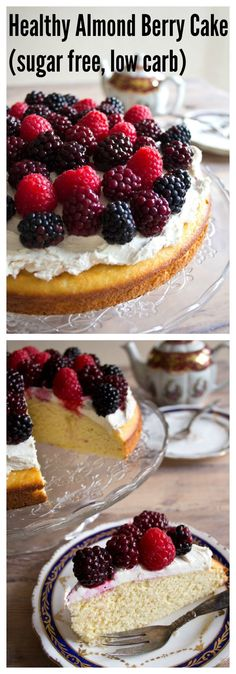 An incredibly moist and healthy almond berry cake with creamy mascarpone icing. Sugar free, gluten free, low carb and so nutritious you could eat it for breakfast.