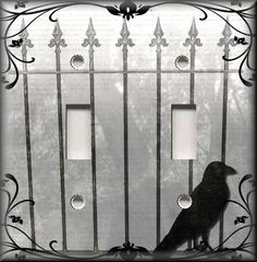 Light Switch Plate Cover - Decorative Gate With Crow Bird - Gothic Home Decor