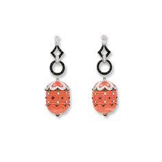 PAIR OF CORAL, GEM-SET AND DIAMOND PENDENT EARRINGS Coral Earrings, Gem, Diamond, Jewels, Diamonds, Gemstone, Gemstones