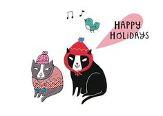 Happy Holidays cat card  Greeting Card  christmas by messymydesign