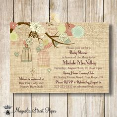 Burlap Baby Shower Invitation Baby Girl/Baby Boy Baby Shower