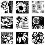 Flourishes Inchies Clear Stamp Set with Block - Inkadinkado  --   stamp in squares  --  j