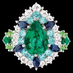 "Cher Dior - ""Exquise Emeraude"" Ring in 18K white gold, diamonds, emeralds, Paraiba tourmalines, demantoid garnets and sapphires."