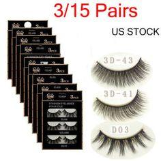 9e28f2764ba 15 Pairs Handmade Eye Lashes Real Mink 3D Natural Cross False Eyelashes LOT  False Eyelashes,