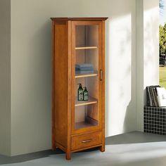 Linen Tower Storage Cabinet door bathroom closet towel shelves New Freeshipping