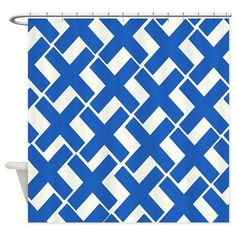 Blue and White Xs Shower Curtain on CafePress.com