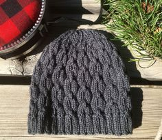 Men's  Beanie, Men's Hat, Knit Hat, Knitting Hat, Cable Knit Hat, Chain Knit Hat, Grey, Wool by beatknits on Etsy