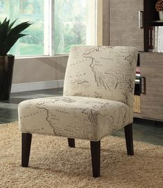 "Beige Mapped  Accent Chair   $199.00   30""W x 23""D x 33""H   CTC CHR96229"