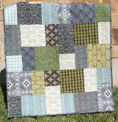Modern Boy Quilt Modern Baby Unique Sophisticated Contemporary MADE TO ORDER. $149.00, via Etsy.