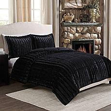 image of Sable Fancy Fur Reversible Comforter Set in Black