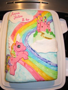 My little pony - My little pony cake to my daughters 2nd birthday, I painted on the fondant and made a 3d pony and castle. (the paint is still wet when the picture is taken)