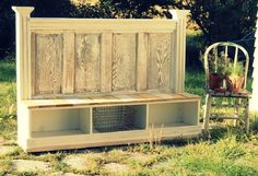 Entryway bench with nesting boxes! Maybe Use an old headboard instead of a door!
