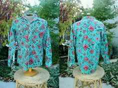 1990's Men's Southwestern Shirt Size Medium Turquoise Native American Cotton Frontier Series Vintage Retro 90's Cowboy Line Dancing Rodeo by Retromomo on Etsy