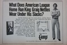 "1977 GRAIG NETTLES IN ""CAMP"" Men's Supportwear Underwear Print ad"