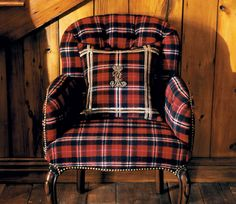 Ralph Lauren Home Collection 14 - Matching tartan armchair and pill. - Ralph Lauren Home Collection 14 – Matching tartan armchair and pillow - Tartan Chair, Tartan Decor, Ralph Lauren Style, Equestrian Style, Buffalo Plaid, Red Plaid, Hygge, Tweed, Favorite Color