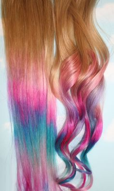 Ombre Tie Dye Hair Tips Set of 2 Dirty Blonde Human Hair Extensions Colored Hair Tie Dye Tips, Dyed Tips, Tie Dye Hair, Dyed Hair, Extension A Clip, Color Fantasia, Colored Hair Tips, Hair Chalk, Rainbow Hair