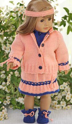 DollKnittingPatterns - Inger Lise - Sweater, Skirt, Jacket, Pants, Socks and Hairband Knitting Dolls Clothes, Ag Doll Clothes, Clothes Crafts, Knitted Dolls, Doll Clothes Patterns, Sewing Clothes, Clothing Patterns, American Girl Outfits, Dolly Fashion