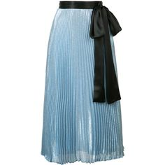 Christopher Kane metallic pleated tie waist midi skirt (2,195 CAD) ❤ liked on Polyvore featuring skirts, bottoms, blue, high-waist skirt, high waisted pleated skirt, metallic midi skirt, print skirt and print midi skirt