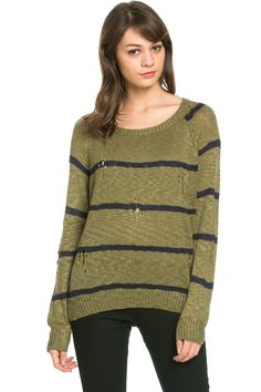 Round Neck Striped Sweaters Olive