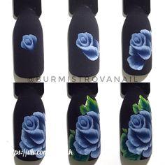 Nails design flower one stroke 44 ideas Uñas One Stroke, One Stroke Nails, One Stroke Painting, Rose Nail Art, Rose Nails, Flower Nail Art, Nails & Co, Nails Now, Diy Nails