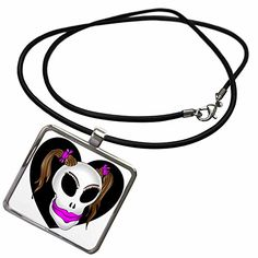 3dRose Mark Grace MONSTERVISIONS Skulls - SKULL BEAUTY 1h on transparent - Necklace With Rectangle Pendant (ncl_24048_1)