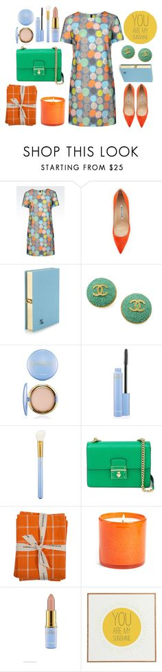 """""""I miss Spring."""" by emi-the-queen ❤ liked on Polyvore featuring Armani Jeans, Manolo Blahnik, Olympia Le-Tan, Chanel, MAC Cosmetics, Dolce&Gabbana, Sir/Madam, LAFCO, Universal Lighting and Decor and blogger"""