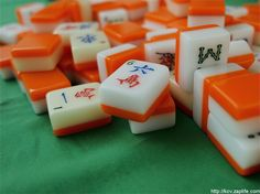 Mah Jong two-tone tiles with orange.