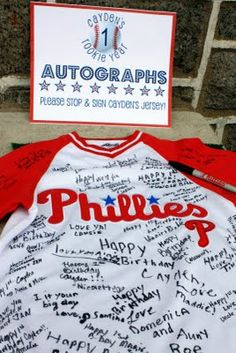 Autographed jersey by everyone for the birthday boy!
