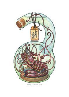 Bottled: Whisker Shrimp, Emma Lazauski on ArtStation at https://www.artstation.com/artwork/1rboo