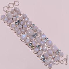 .925 Sterling silver natural rainbow moon+bt bracelet g999 121gm #handmade #bracelet