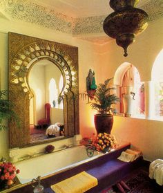 How to Infuse Moroccan Elements to Your Decor Are you mesmerized by the detailed architecture and vivid colours of Moroccan D. Moroccan Design, Moroccan Decor, Moroccan Style, Dream Bathrooms, Beautiful Bathrooms, Moroccan Bathroom, Boho Bathroom, Bathroom Interior, Style Oriental