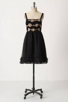 Anthropologie Women's Cocktail Dress Zehavale Midnight Dahlia Black Silk #Anthropologie #EmpireWaist #CocktailFestivePartyWatermelontossing