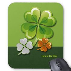 Ireland Flag Colors Shamrocks  design St.Patrick's Day Gift Mousepads. Matching cards and other products available in the Holidays / St.Patrick's Day Category of the artofmairin store at zazzle.com