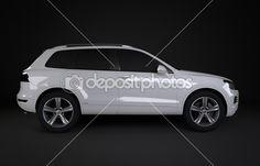 White off road vehicle isolated of black background