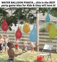 Play a refreshing game of water balloon piñatas. 37 Ridiculously Awesome Things To Do In Your Backyard This SummerA Backyard Water Party featuring water balloon piñatas, colored kool-aid ice cubes, fence mural finger painting, & shaving cream pool. Balloon Party, Balloon Birthday, Water Birthday Parties, 5th Birthday, Backyard Birthday, Backyard Ideas, Kids Birthday Games, Backyard Games For Kids, Backyard Games