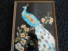 vintage reverse painting on glass