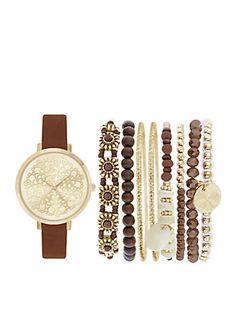 Jessica Carlyle Women's Gold-Tone Boho Watch and Bracelet Set