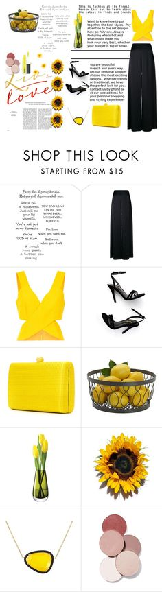 """Something Yellow"" by arfonida ❤ liked on Polyvore featuring Temperley London, LULUS, Serpui, Mikasa, LSA International, Christina Debs, LunatiCK Cosmetic Labs and John Lewis"