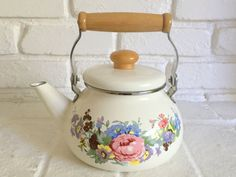 Vintage Enamel Kettle Floral Ivory Teapot with wood by MyLunna