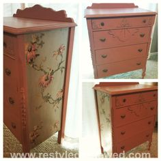 Scandinavian pink annie sloan chalk paint and wallpaper added to sides