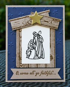 Krystal's Cards: Stampin' Up! All Ye Faithful Night #stampinup #krystals_cards #allyefaithful #christmascard #handstamped #papercrafts #cardmaking #stampsomething