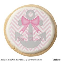 Anchors Away Girl Baby Shower Cookies Round Premium Shortbread Cookie