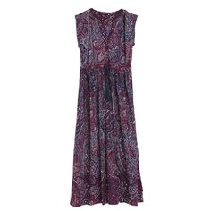 Платье бордовое с узором «пейсли» длинное без рукавов с широкой юбкой, Oysho, где купить: Oysho