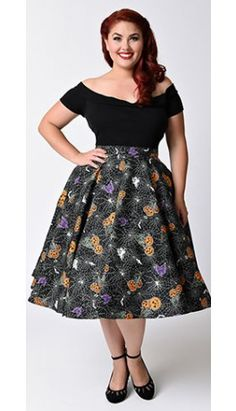 Hell Bunny Plus Size 1950s Black Halloween Print Harlow High Waist Swing Skirt