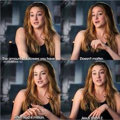 I find this really beautiful. It's so true, too. There really isn't many people like this anymore, but I'm so thankful that Shailene is. Shailene Woodley is such an inspiration to me and she's so amazing Shailene Woodley, Great Quotes, Me Quotes, Funny Quotes, Actor Quotes, Funny Memes, Bien Dit, Christian Memes, Christian Crafts