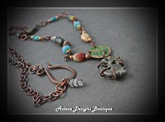 Ammonite Charm~ Gemstone Copper Rustic Long Artisan Necklace by AztecaDesignsBoutique, $105.00 USD