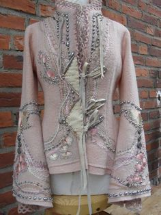 in deeper co Motif Mandala Crochet, Sweater Refashion, Altered Couture, Dress Drawing, Fur Fashion, Handmade Clothes, Long Sweaters, Jackets For Women, Casual Outfits
